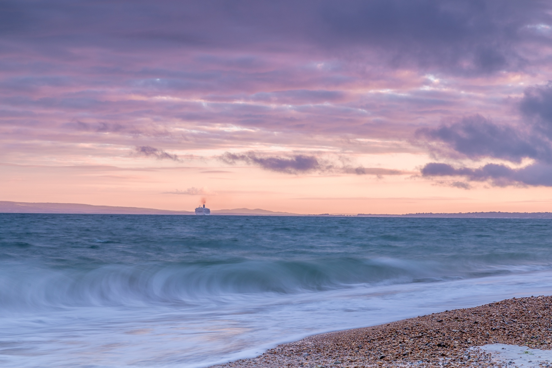 Hengistbury Head ship at sunset